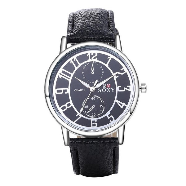 Charcoal Black Leather Metallic Tone Dial Tone Men's watch