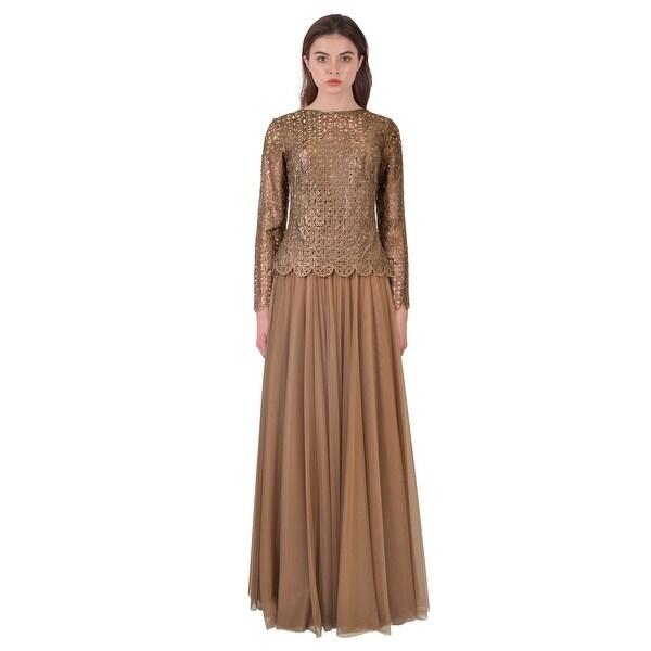 Shop Tadashi Shoji Cutout Illusion Long Sleeve Evening Gown Dress