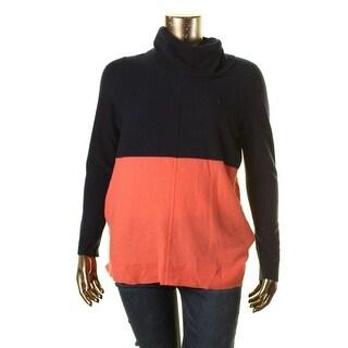Lauren Ralph Lauren Womens Cashmere Colorblock Turtleneck Sweater