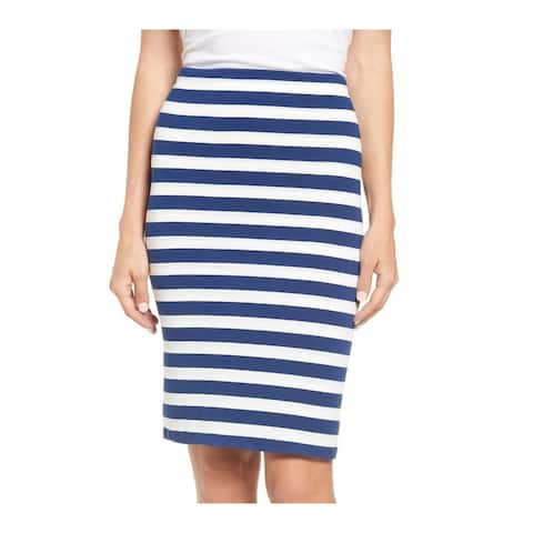 Gibson Womens Skirt Blue Size Large PL Petite Stretch Knit Striped