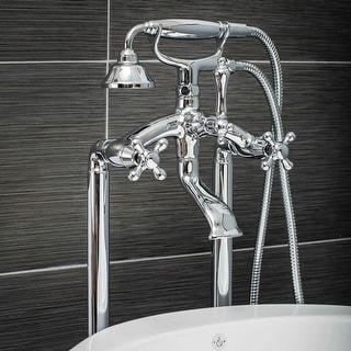 Pelham & White Luxury Tub Filler Faucet, Vintage Design, Floor Mount Installation, Cross Handles, Polished Chrome Finish