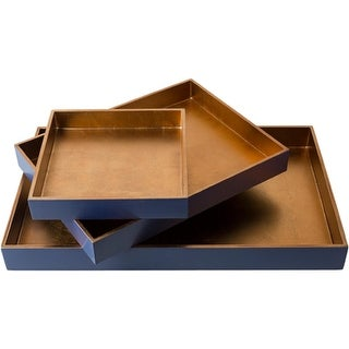 Set of 3 Royal Blue and Tan Brown Modern Style Tray Decorative Accent 19.7""