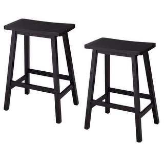shop costway set of 2 saddle seat 24 bar stools wood bistro dining