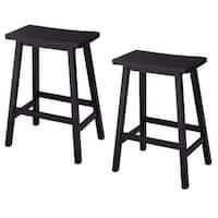 Costway Set of 2 Saddle Seat 24'' Bar Stools Wood Bistro Dining Kitchen Pub Chair Black