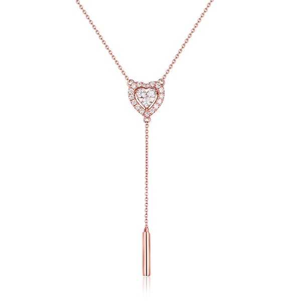 Prism Jewel Heart Shaped Lariat Necklace, 0.29Ct Round Brilliant Cut G-H/SI1 White Diamond