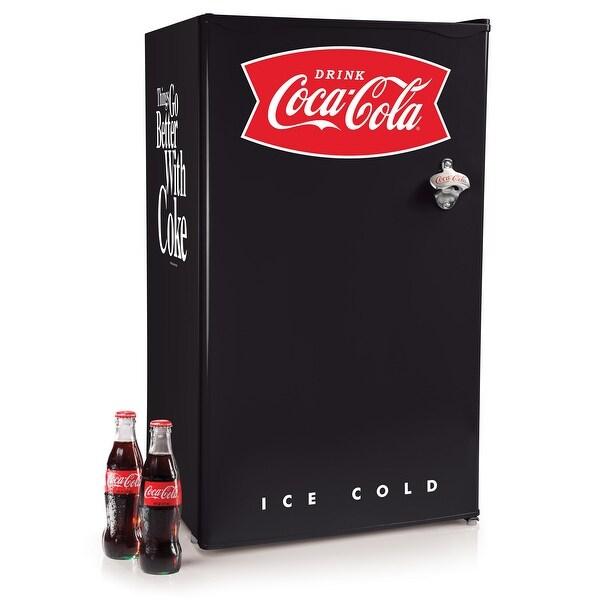 Coca-Cola CRF32BKCK 3.2 Cu. Ft. Refrigerator With Freezer, Black. Opens flyout.