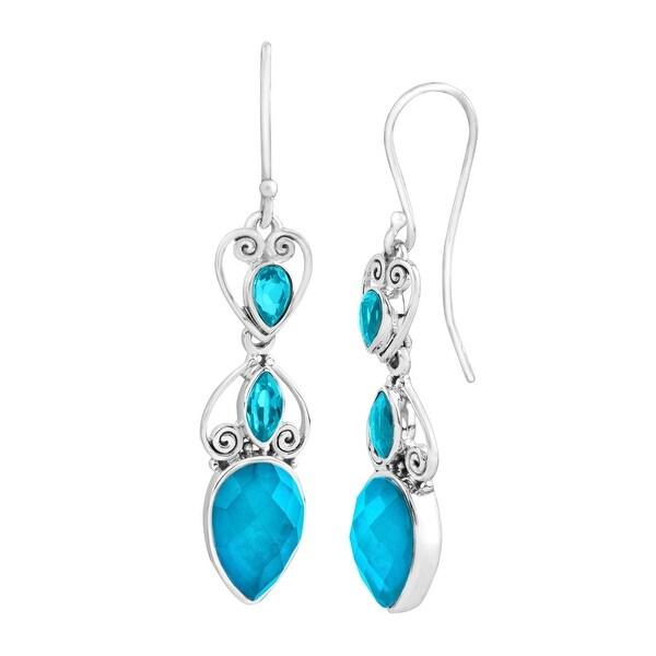 Sajen Celestial Paraiba Quartz & Mother of Freshwater Pearl Drop Earrings in Sterling Silver