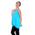 Simply Ravishing Women's Solid Round Neck Sleeveless High Low Asymmetrical Hem Tunic Top - Thumbnail 9
