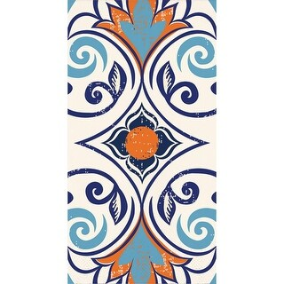 Pack of 192 Blue and Orange Moroccan Tile Themed 3-Ply Vintage Party Napkins 8