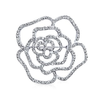 Link to Bridal Pave Cubic Zirconia CZ Large Flower Rose Brooch Pin Similar Items in Fashion Jewelry Store
