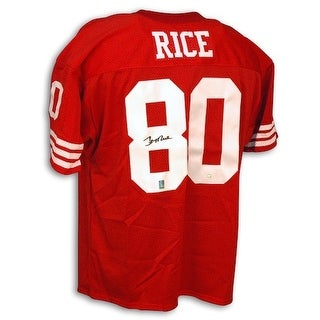 4fca5c99813 Shop Autographed Jerry Rice San Francisco 49ers Red Throwback Jersey - Free  Shipping Today - Overstock - 13274297