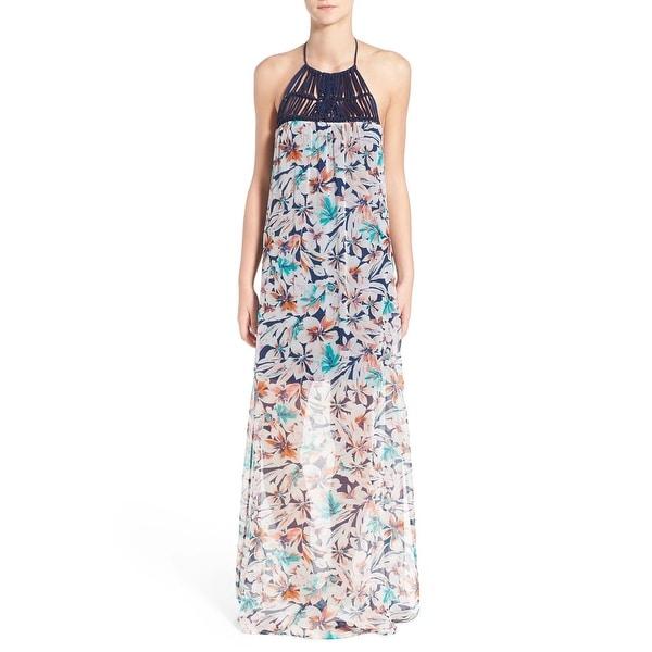 e754734e4b82f Shop Ella Moss Blue Womens Size Small S Halter Floral Silk Maxi ...