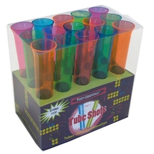Plastic Tube Shots 1.5 oz Assorted Neon 15 Count
