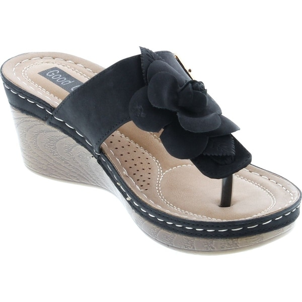 Gc Shoes Womens Sydney Rosette Slide Wedge Sandals