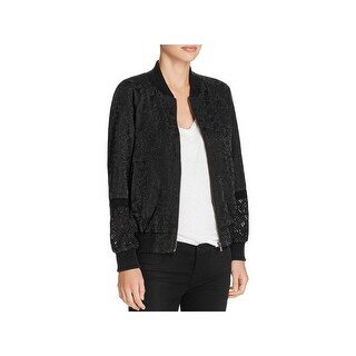 French Connection Womens Bomber Jacket Embroidered Lace Inset