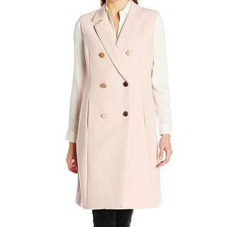 Vince Camuto NEW Pink Womens Size Medium M Double-Breasted Trench