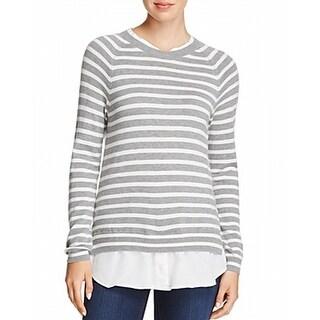 Joie NEW Gray White Womens Size XS Striped 2fer Crewneck Sweater