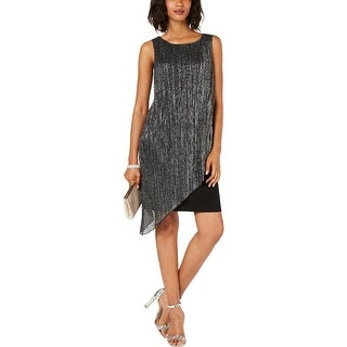 Connected Apparel Womens Cocktail Dress Metallic Ribbed Knit - Black/Silver