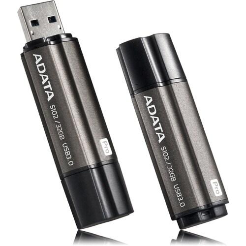 """Adata AS102P-16G-RGY Adata 16GB Superior S102 Pro USB 3.0 Flash Drive - Arc-shape - 16 GBUSB 3.0 - Titanium GrayArc-shape"""