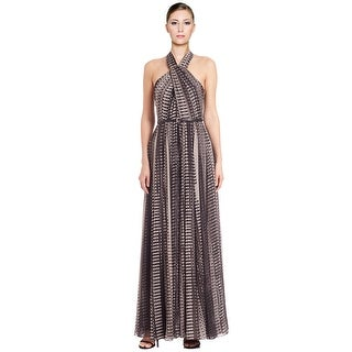 Halston Heritage Printed Cross Neck Belted Long Evening Gown Dress - 8