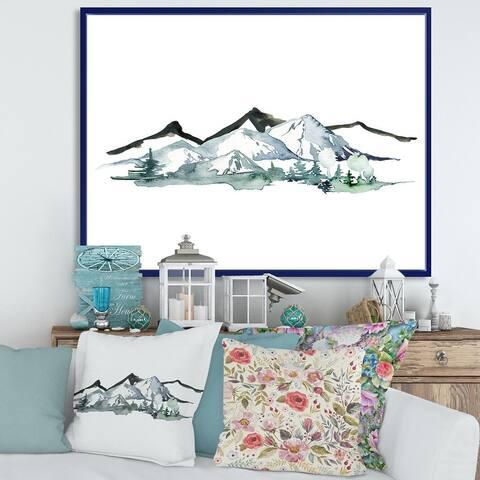 Designart 'Minimalistic Winter Mountains and Fir Forest I' Modern Framed Canvas Wall Art Print