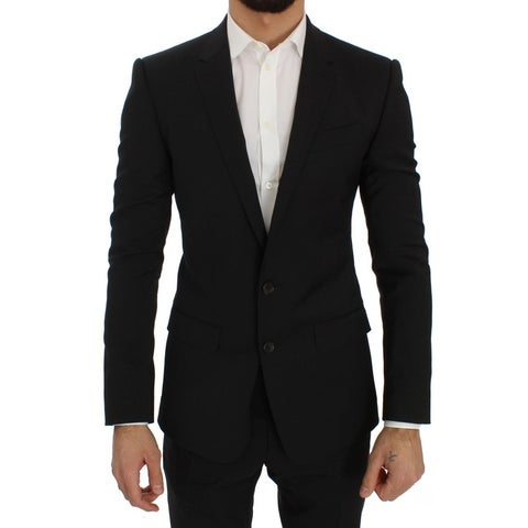 Dolce & Gabbana Dolce & Gabbana Black Wool Stretch Slim Blazer Jacket - it44-xs
