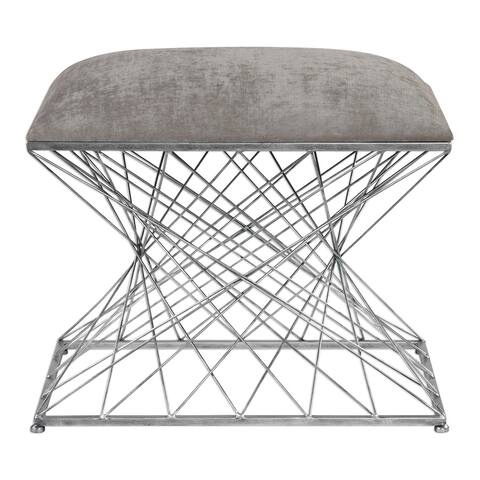 "Uttermost 23410 Zelia 23 5/8"" Wide Iron Frame Accent Stool by Grace - Stone Gray Chenille"