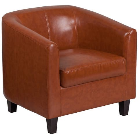 LeatherSoft Lounge Chair with Sloping Arms