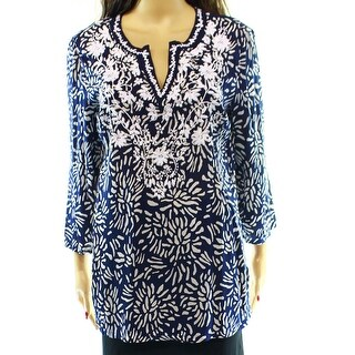 Charter Club NEW Blue White Print Women's Size Small S Top Blouse