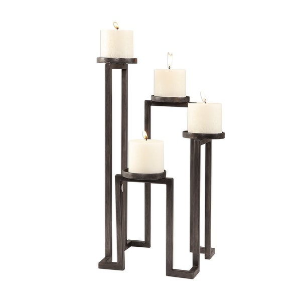18 Natalie Aged Steel Stepped Candle Holder - N/A