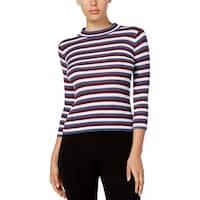 Kensie Womens Pullover Top Striped Long Sleeves