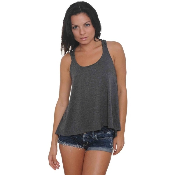 c0fd0a094b Women's Braided Back Tank Top Solid Colors Juniors Hi-Low Athletic