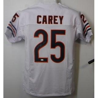 Kadeem Carey Autographed Chicago Bears Custom Size XL White Jersey JSA