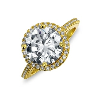 Link to 3CT Round Solitaire AAA CZ Cubic Zirconia Halo Engagement Ring Thin Pave Band 14K Yellow Gold Plated Sterling Silver Similar Items in Rings