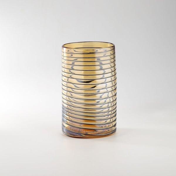 """10"""" Amber Spiral Pattern Hand Blown Glass Cylinder Vase - N/A"""