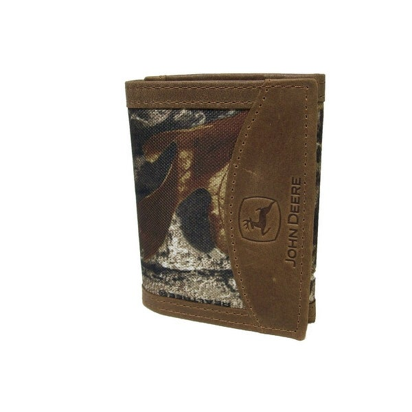 John Deere Western Wallet Mens Leather Trifold Tan Camo - One size