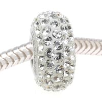 Swarovski Elements Crystal, 81101 BeCharmed Pave Slim European Style Lg Hole Bead 13.5mm, 1 Pc, Crystal