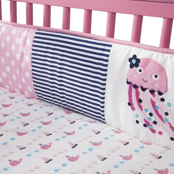 Lambs & Ivy Splish Splash Pink/Navy/White Nautical Ocean Theme 4-Piece Baby Crib Bumper. Opens flyout.
