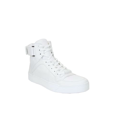 0c5c85691c Gucci Men's White Soft Leather High Top Sneakers 386738 9070 (9 G / 10 US