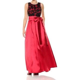 Eliza J Black Womens Belted Floral Shimmer Gown Dress