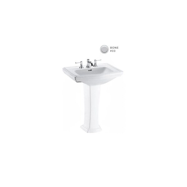 "Toto LT780.4 Clayton 27"" Pedestal Bathroom Sink with 3 Faucet Holes Drilled and Overflow"