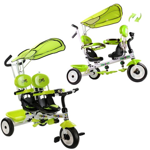 Costway 4 In 1 Twins Kids Baby Stroller Tricycle Safety Double Rotatable Seat w/ Basket Green