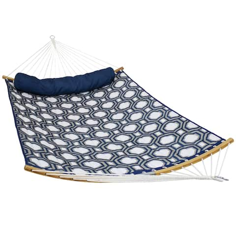 Sunnydaze Quilted Hammock -Curved Bars -Portable/Collapsible-Navy & Gray Octagon