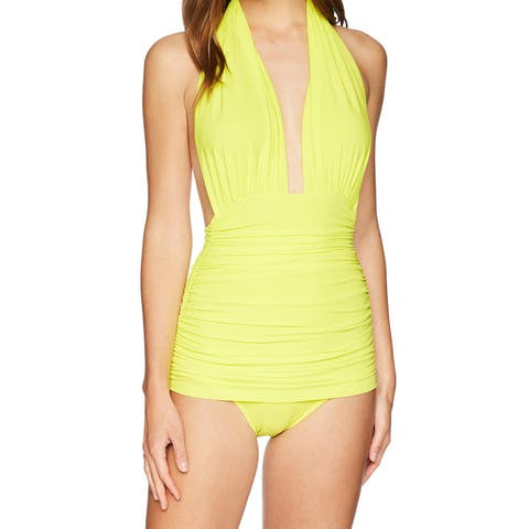 Norma Kamali Yellow Women's Size Medium M One-Piece Swimwear