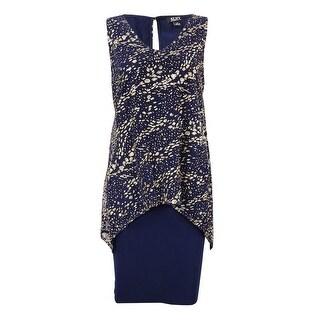 SLNY Women's Metallic-Overlay Shift Dress - Navy/Gold