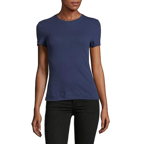 Theory Women's Top Blue Size Small S Cotton Short Sleeve Crewneck