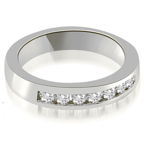 0.35 cttw. 14K White Gold Classic Channel Round Cut Diamond Wedding Band
