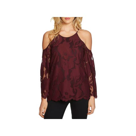 1.State Womens Casual Top Lace Embroidered