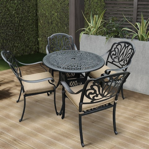 GZMR 5-Piece Aluminum Outdoor Patio Dining Set with Cushions