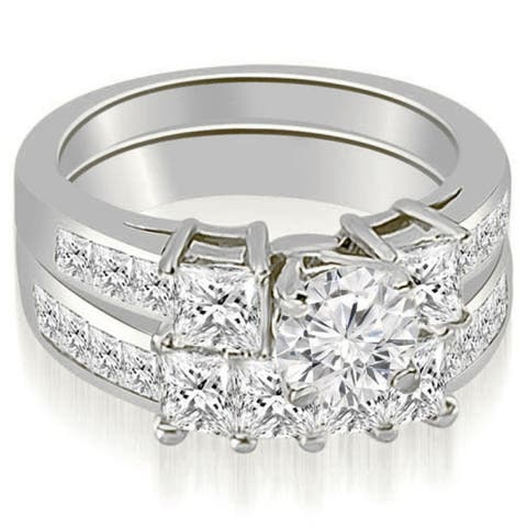 2.85 CT Channel Set Princess & Round Diamond Engagement Set in 14KT - White H-I